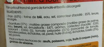 Préfou Le Pain Apéritif Tomate Basilic - Ingrédients - fr