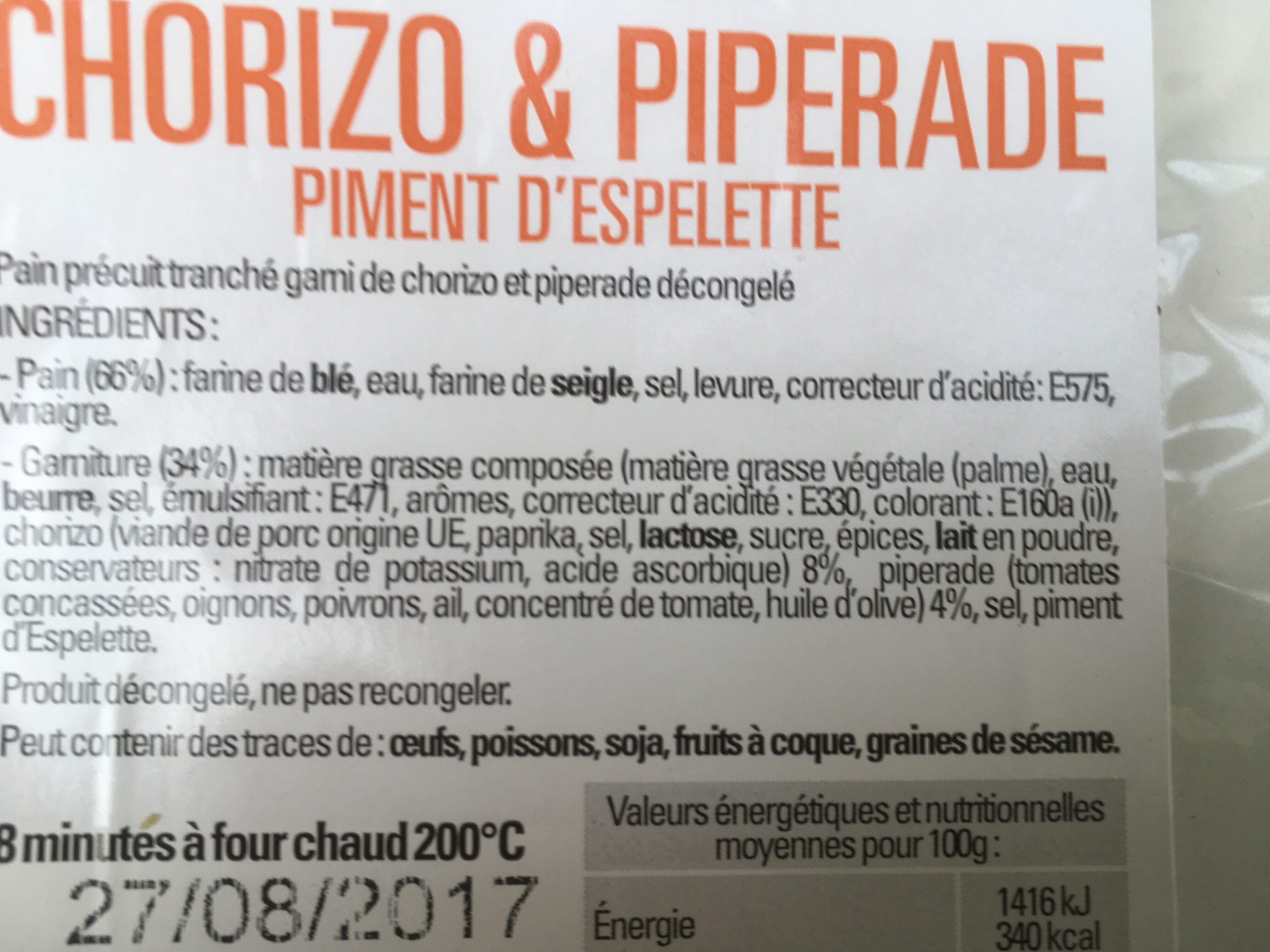 Le Préfou chorizo et piperade - Ingredients - fr