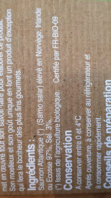 Pave de saumon bio fume - Ingrediënten - fr