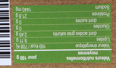 Pave de saumon bio fume - Voedingswaarden