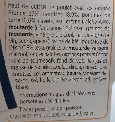 Mijoté de Volaille, Pommes de Terre & Carottes - Ingrédients - fr