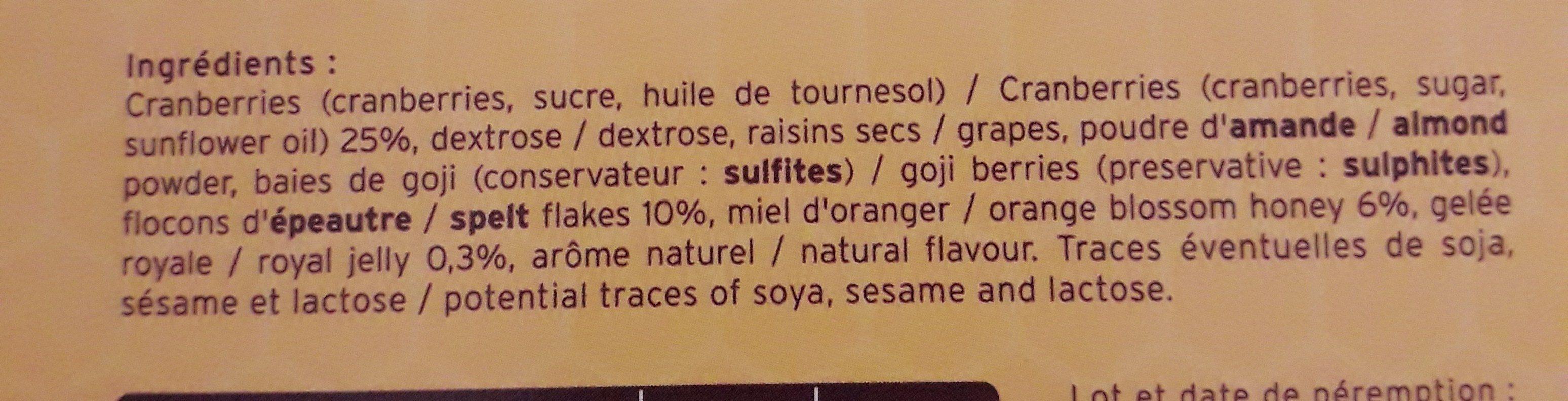 Tonic'Barre - Ingredients