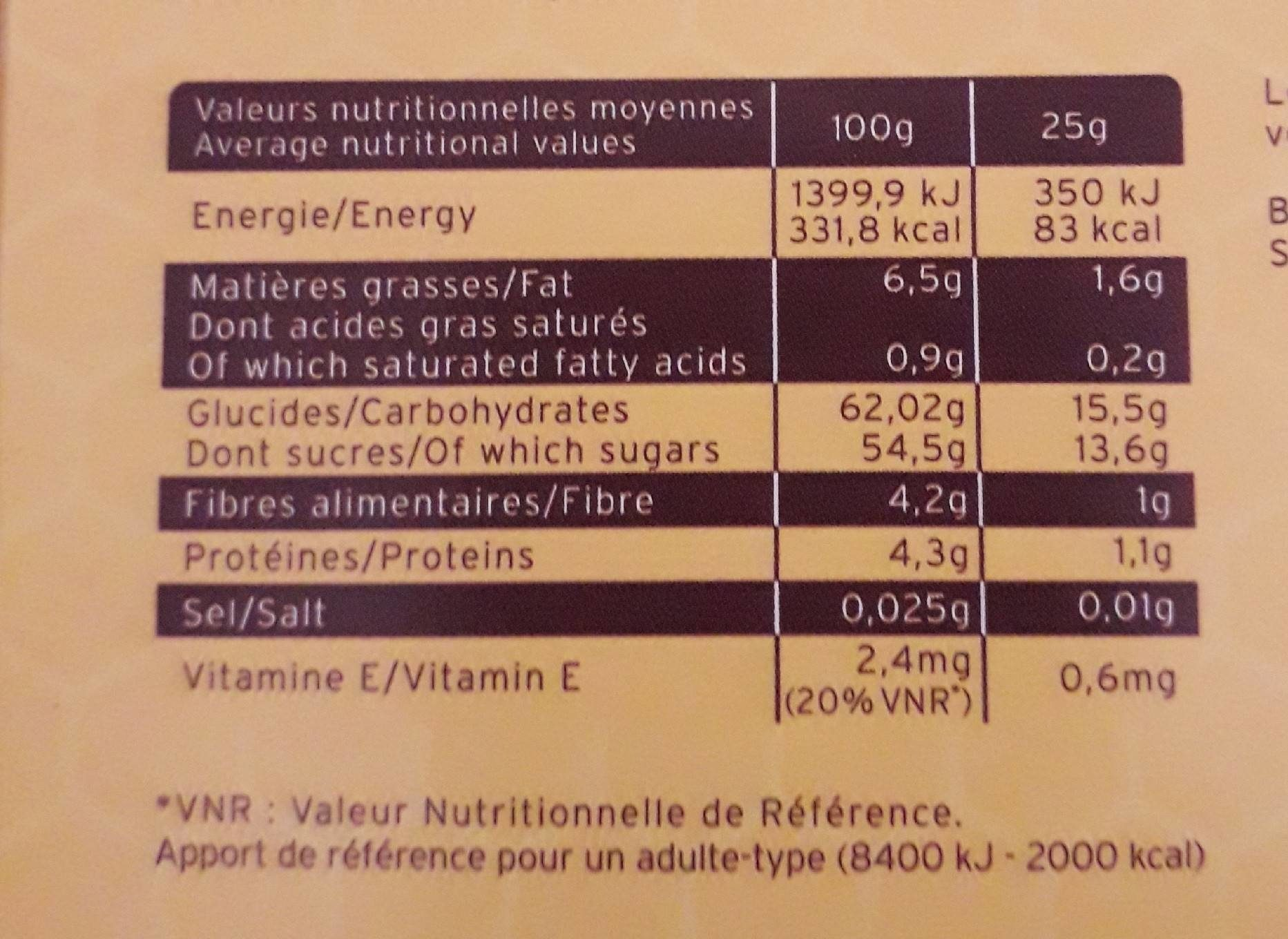 Tonic'Barre - Nutrition facts