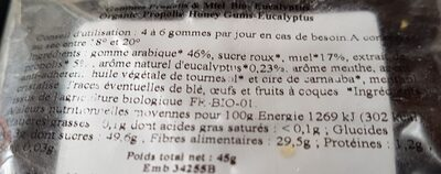 Gommes propolis et miel-eucalyptus - Ingrédients - fr