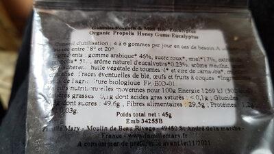 Gommes propolis et miel-eucalyptus - Informations nutritionnelles - fr