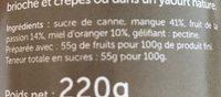Confiture mangue passion - Ingredients