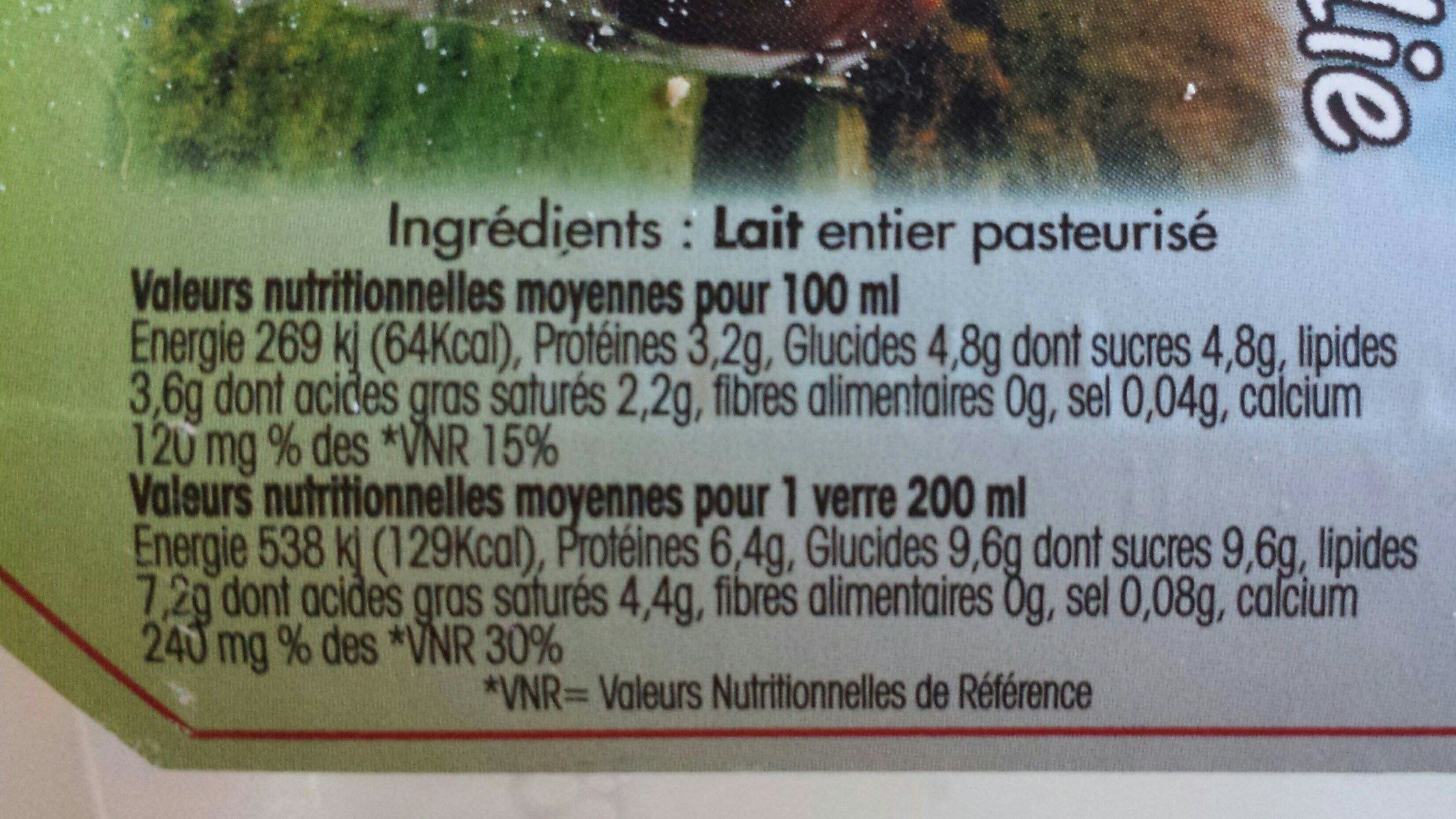 Lait fermier de Normandie - Ingredients - fr