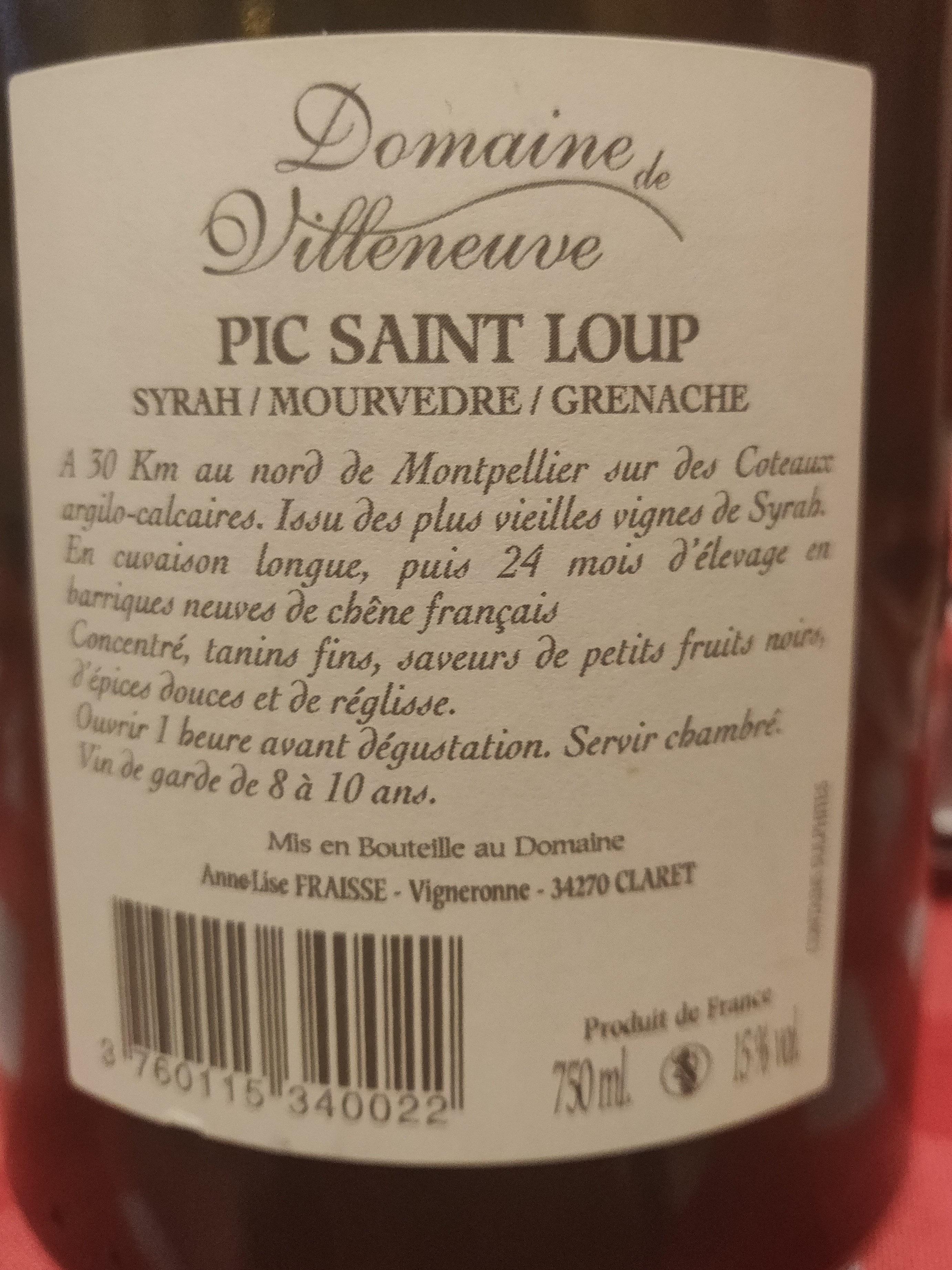 vin rouge Pic Saint Loup - Ingrédients