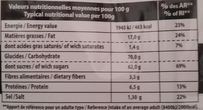 P'tit Craq Caramel Salé - Nutrition facts