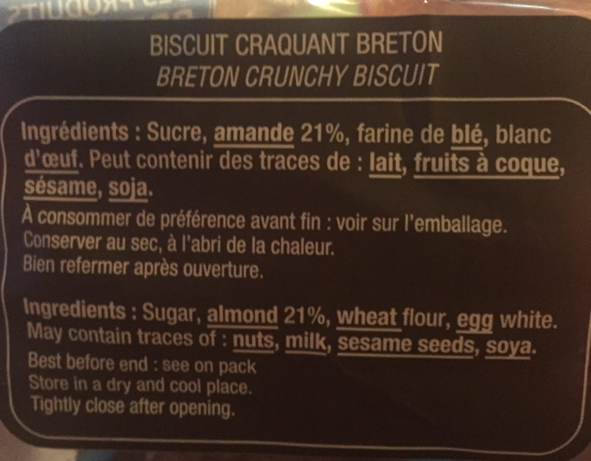 Le p'tit craq - Ingrédients