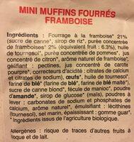 Mini muffins fourrés framboise - Ingrédients - fr