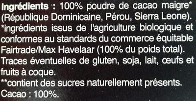 Cacao maigre en poudre - Ingredienti - fr