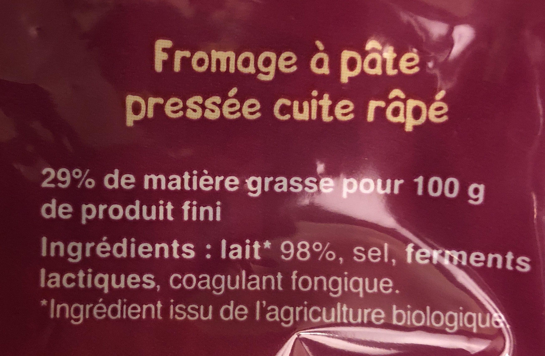 Emmental français râpé Bio (29 % MG) - Ingrédients