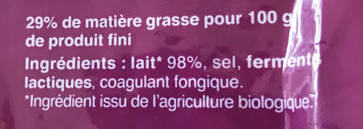 Emmental français râpé Bio (29 % MG) - Ingrédients - fr