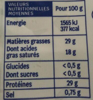 Emmental français râpé Bio (29 % MG) - Informations nutritionnelles - fr
