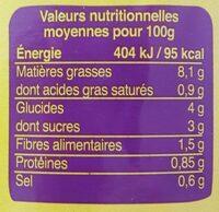 Ratatouille 1kg - Valori nutrizionali - fr