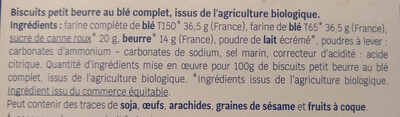 Biscuits petits beurre au blé complet - Ingrediënten - fr