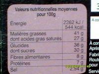 Chocolat noir - Nutrition facts