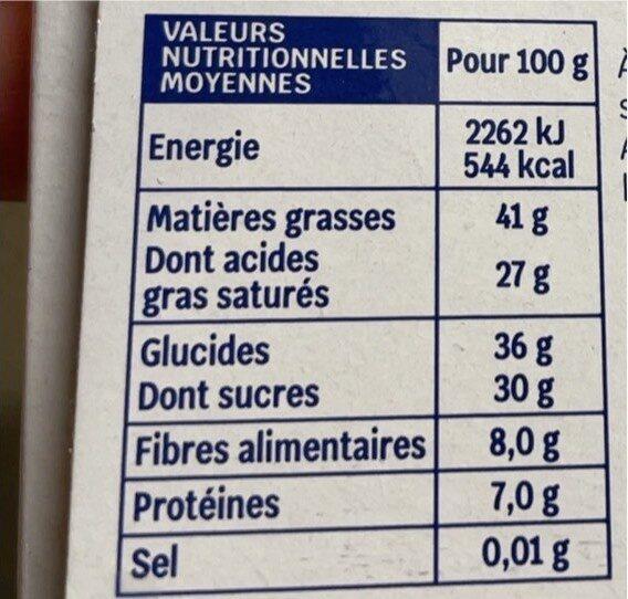 Chocolat noir - Voedingswaarden - fr