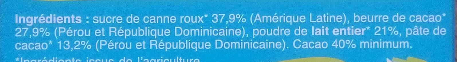 Chocolat au lait 40% cacao - Ingrédients - fr