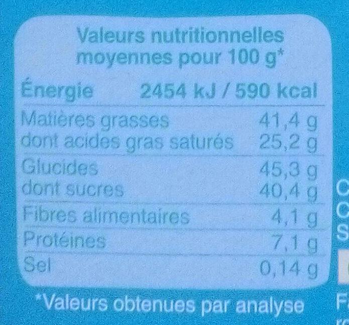 Chocolat au lait 40% cacao - Informations nutritionnelles - fr