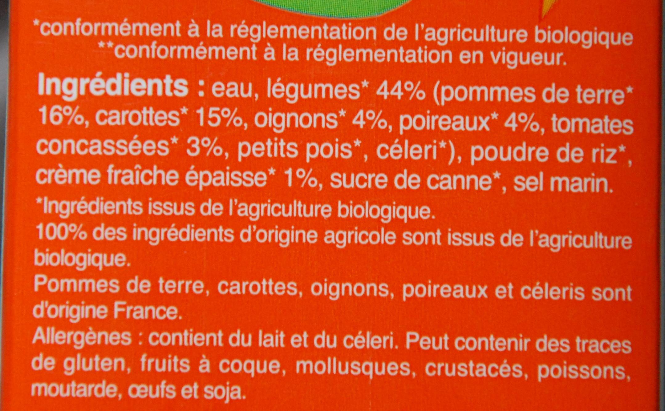 Velouté de légumes variés - Ingredients
