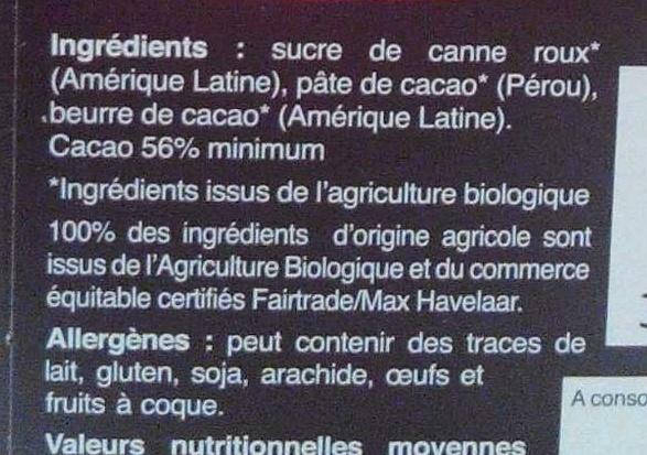 Chocolat Noir Dessert - Ingrédients