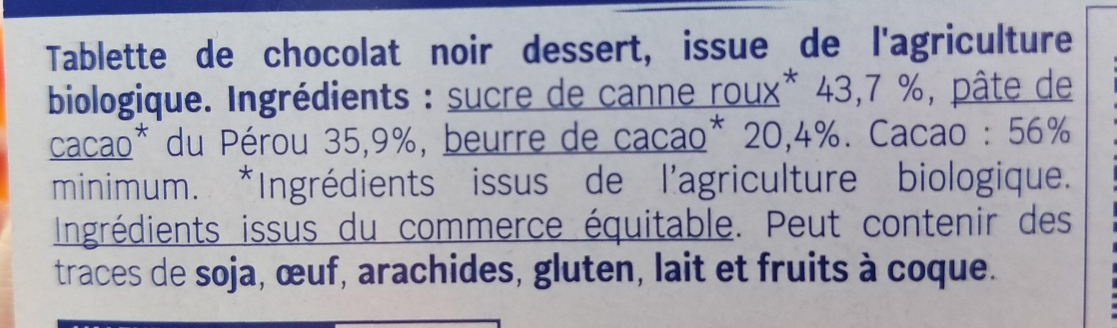 Chocolat noir dessert 56% cacao - Ingredients - fr