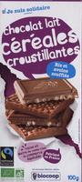 Chocolat lait céréales croustillantes Riz et avoine soufflés - Produit