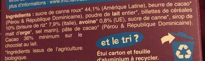 Chocolat lait céréales croustillantes Riz et avoine soufflés - Ingrédients