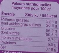 Chocolat lait céréales croustillantes Riz et avoine soufflés - Informations nutritionnelles