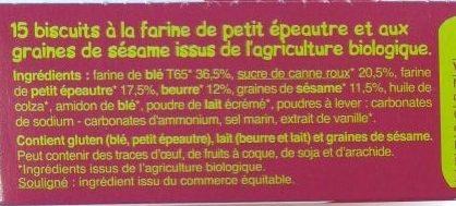 Biscuits petit épeautre sésame - Ingredients - fr
