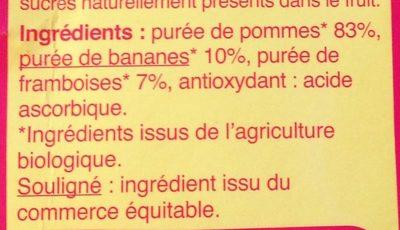 Purée Pomme Banane Framboise - Ingredients