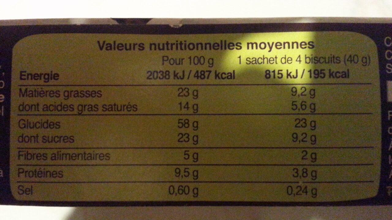 Biscuits nappés chocolat noir - Nutrition facts