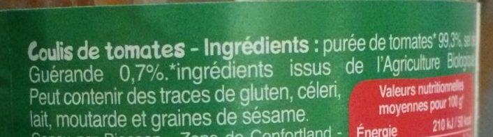 Coulis De Tomates - Ingrédients - fr