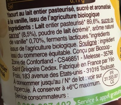 Yaourt Saveur Vanille - Ingredients