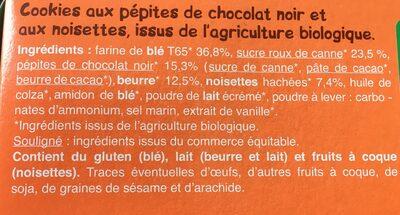 Cookies Pépites De Chocolat Et Eclats De Noisettes - Ingredients