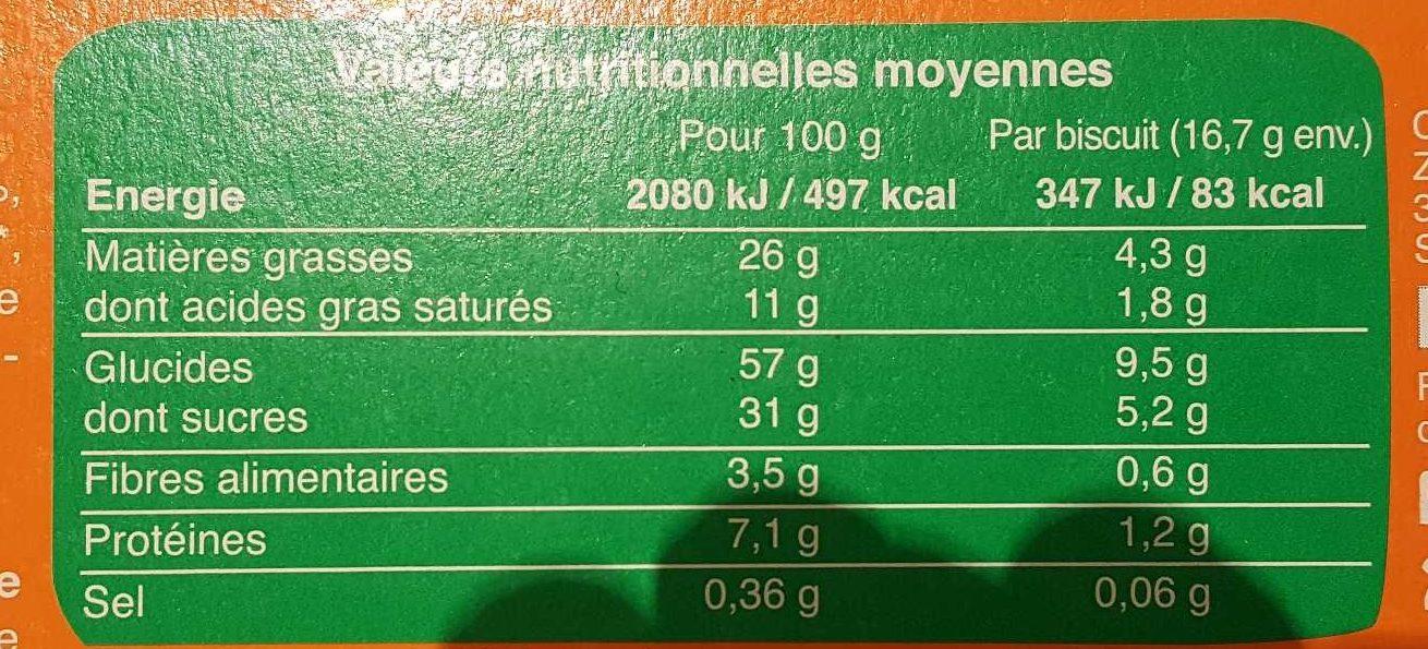 Cookies Pépites De Chocolat Et Eclats De Noisettes - Nutrition facts