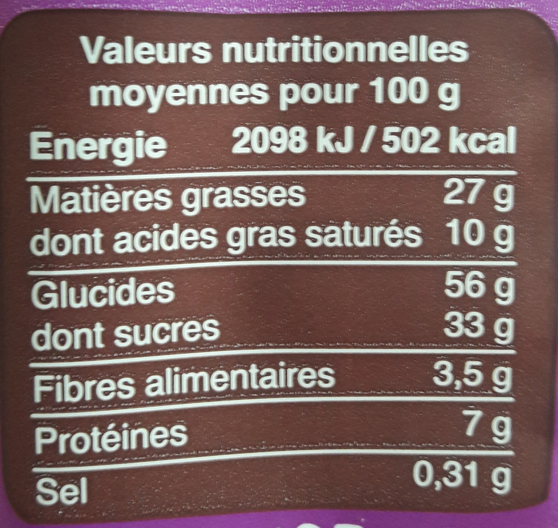Cookies Maxi Pepites - Informations nutritionnelles - fr