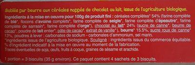 Sablés 6 Céréales Complète Chocolat Au Lait - Ingrédients