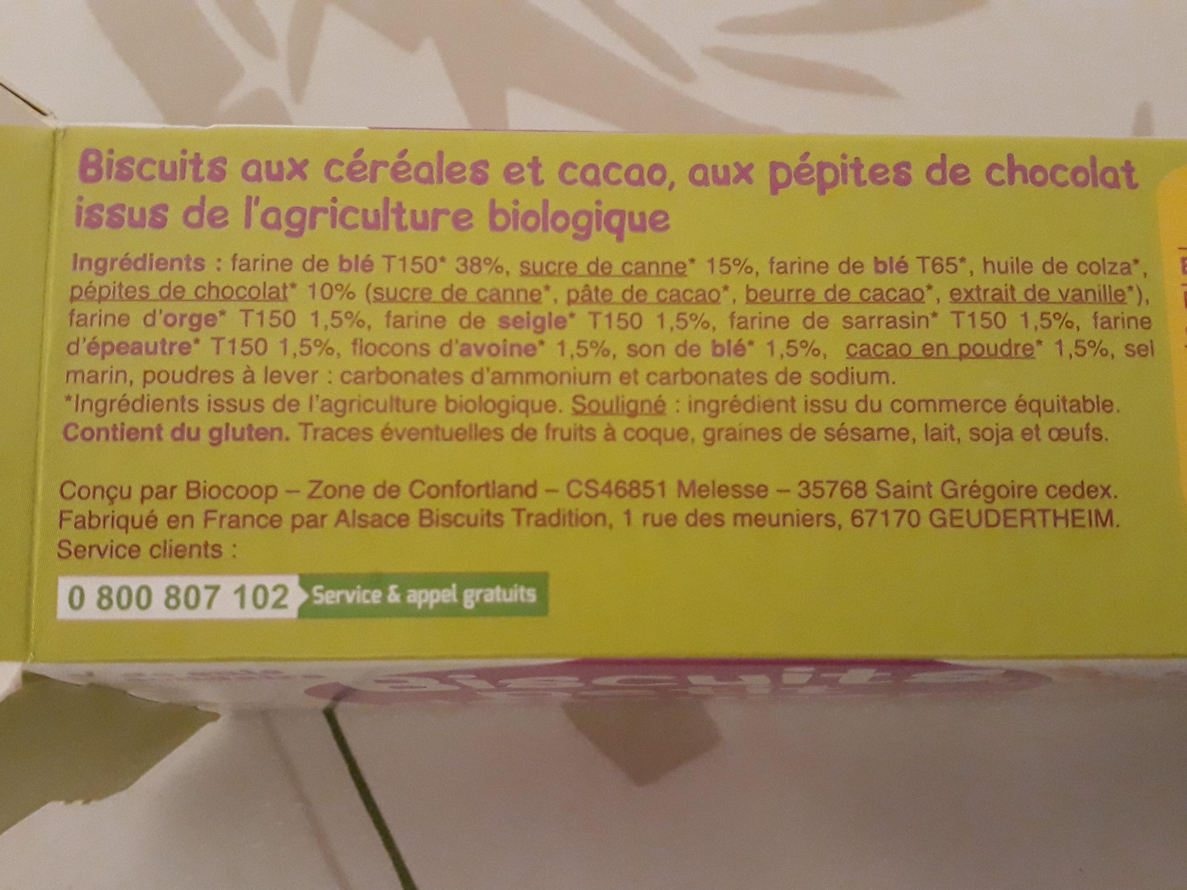 Biscuits petit déjeuner - 6 céréales et chocolat - Ingredients - fr