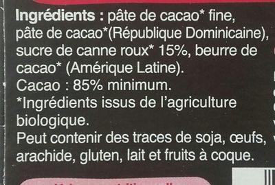 Chocolat noir 85% cacao - Ingredients - fr