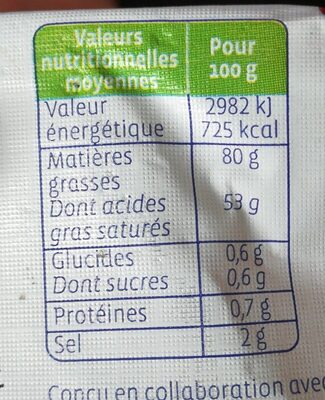 Beurre de baratte demi-sel - Voedingswaarden - fr
