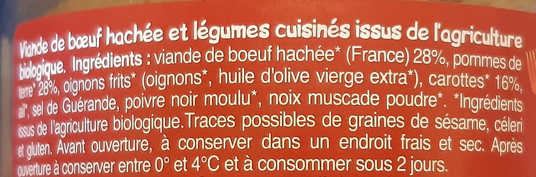 Hachis de Boeuf et ses légumes - Ingredients