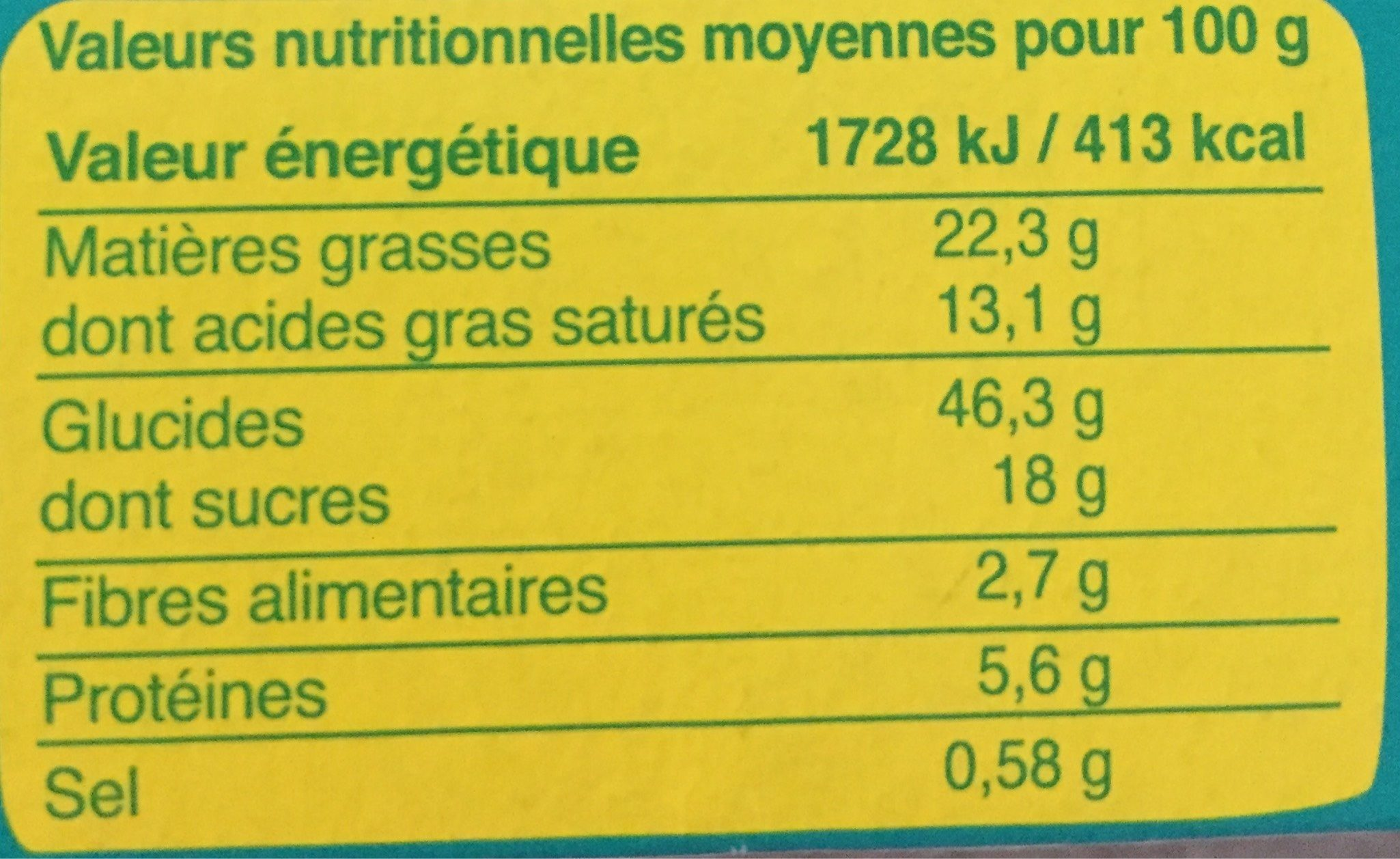 Sablés Coco Citron - Voedingswaarden