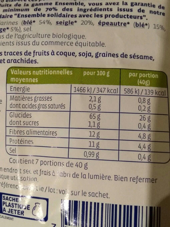 Pétales 5 céréales - Informations nutritionnelles