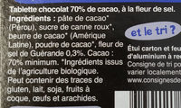 Chocolat noir 70% fleur de sel - Ingredients