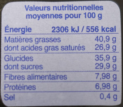 Chocolat noir 70% fleur de sel - Nutrition facts