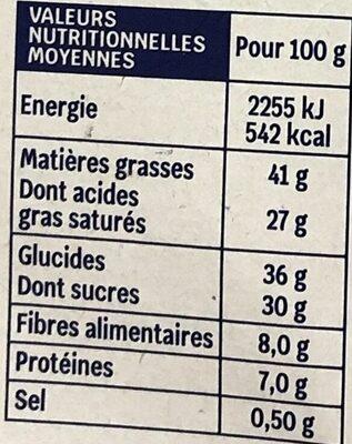 Chocolat noir 70% fleur de sel - Valori nutrizionali - fr
