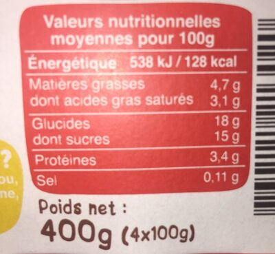 Crème dessert chocolat - Informations nutritionnelles - fr